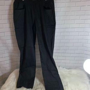 Jaanuu Black Moto Ankle Zip Scrub Pants NWT Sz M